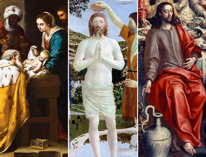 "L to R: Bartolomé Esteban Murillo (1617-1682), ""Adoration of the Magi."" Piero della Francesca (d. 1492), ""The Baptism of Christ."" Maerten de Vos (1532–1603), ""The Marriage at Cana."""