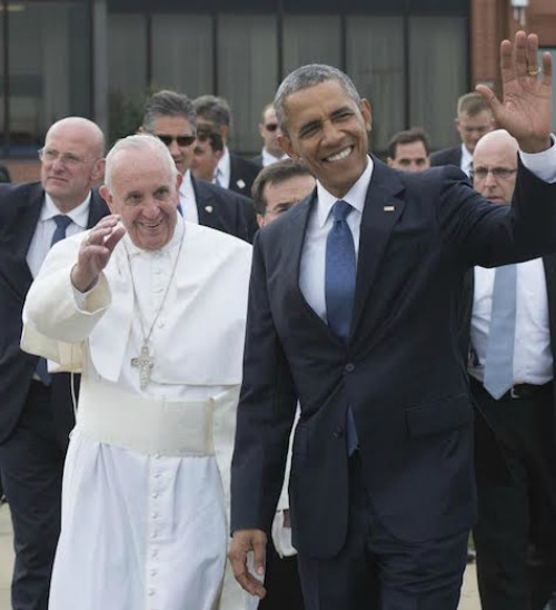 Pope Francis is greeted by President Barack Obama upon his arrival on Sept. 22 at Andrews Air Force Base in Washington.
