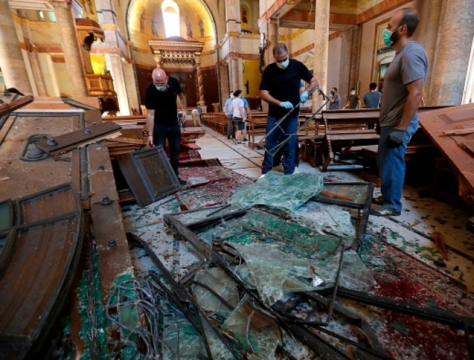 A picture shows destruction inside St. George Maronite Church amid recovery efforts on Aug. 5, in the aftermath of a Aug. 4 massive explosion in the Lebanese capital of Beirut.