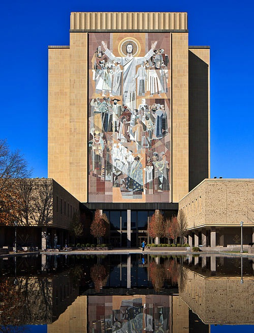 The mosaic of Christ the Teacher at the University of Notre Dame's Hesburgh Library.