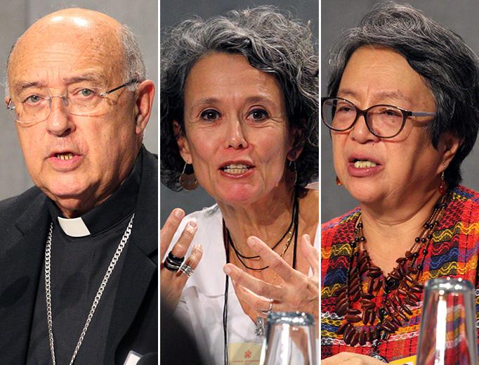 Cardinal Pedro Barreto Jimeno (L), Moema Maria Marques de Miranda and Victoria Lucia Tauli-Corpuz (R) speak at the media conference following the Oct. 8, 2019, session.