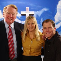 SPIRITUALITY AND SPORTS. From l to r: Vin Scully, Kristin Sheehan and Mike Sweeney Jr.