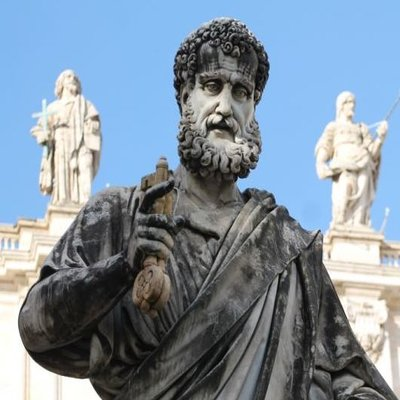 The statue of St. Peter holding the keys, outside St. Peter's Basilica.