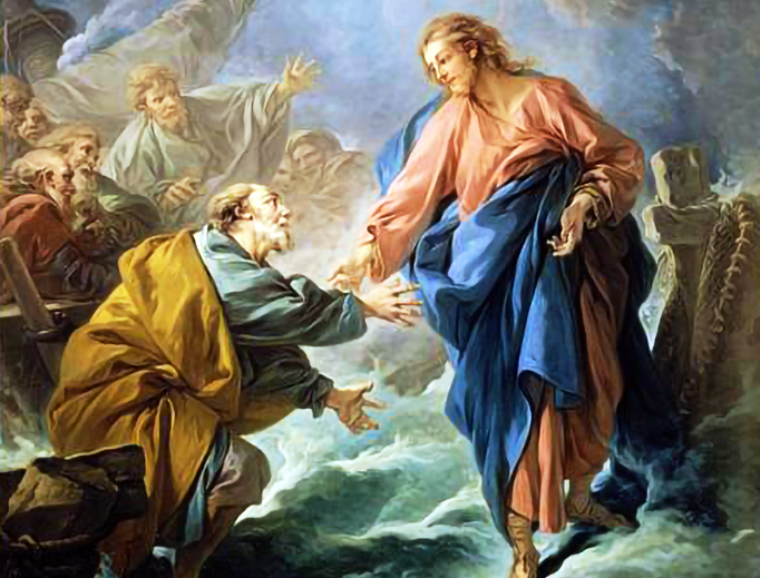 """ABOVE: François Boucher, """"Saint Peter Attempting to Walk on Water,"""" 1766. INSET BELOW: YouTube screen capture of Carlos Eire."""