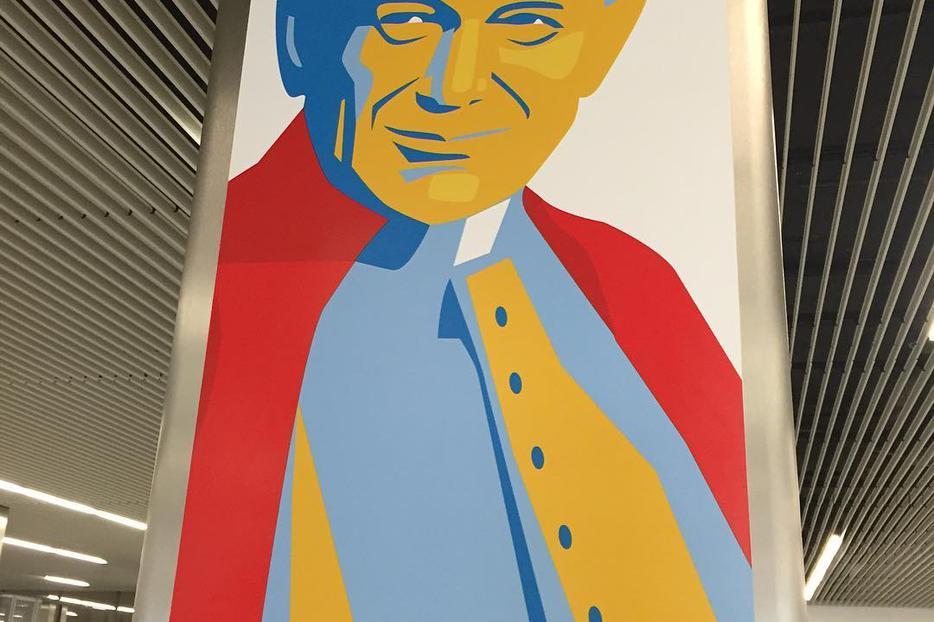 St. John Paul II banner in Krakow, Poland.
