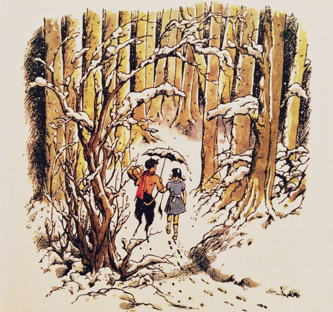Original illustration from The Lion, the Witch and the Wardrobe by Pauline Baynes