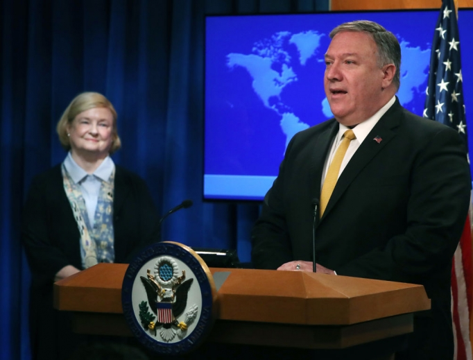 U.S. Secretary of State Mike Pompeo is joined by commission chair Mary Ann Glendon while announcing the formation of the new Commission on Unalienable Rights at a news conference at the Department of State on July 8 in Washington.