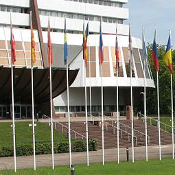 Flags in front of the Council of Europe, Strasbourg
