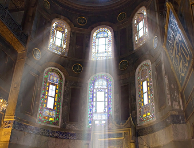 Light streaming into the Hagia Sophia in Istanbul.