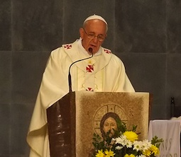 Pope Francis gives the homily during a Mass for priests, religious and seminarians at St. Sebastian Cathedral in Rio de Janeiro July 27.