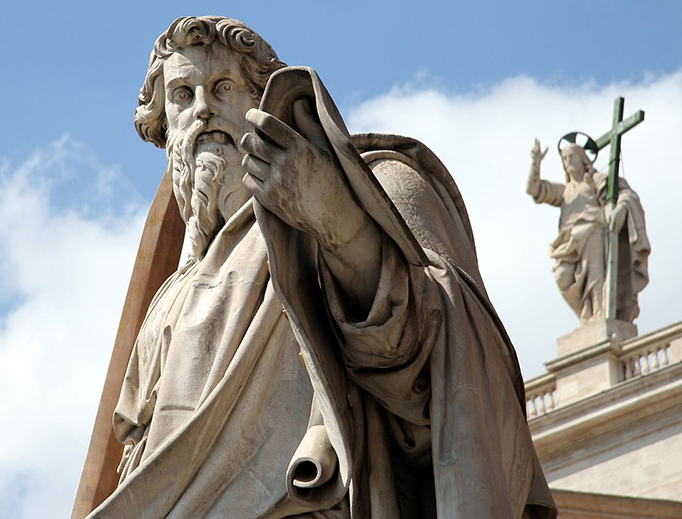 Adamo Tadolini's statue of St. Paul stands in front of St. Peter's Basilica at the Vatican.