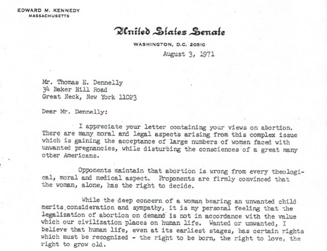 A photograph of a portion of the pro-life letter Sen. Edward Kennedy wrote in 1971.