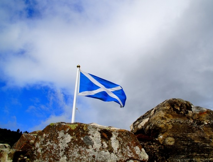 Scottish flag flying over Lochness.