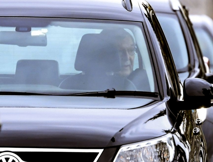 Australian Cardinal George Pell  is shown leaving by car after being released from Barwon Prison on April 7.