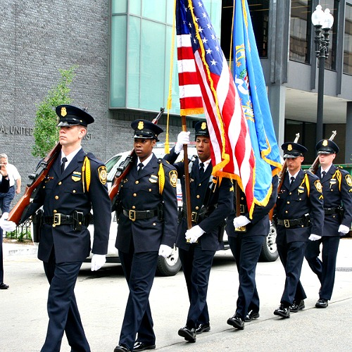 Police officers preparing for the Annual Blue Mass in Washington