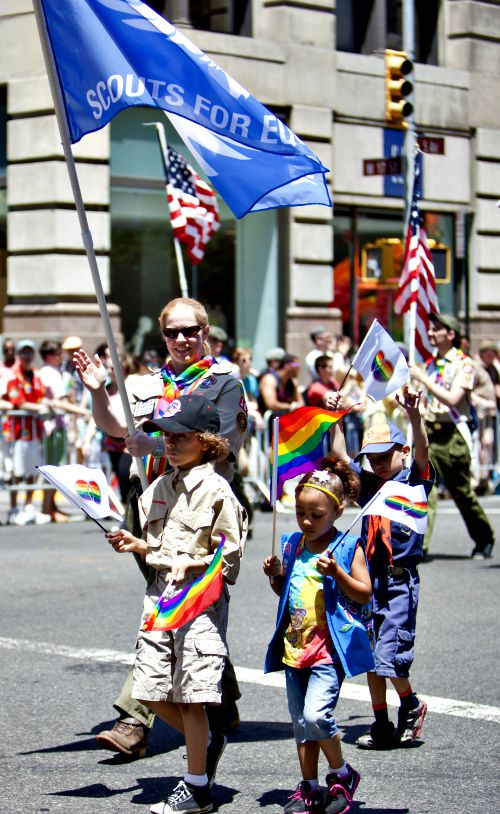 Scouting troops take part in the 2014 New York City Pride March.