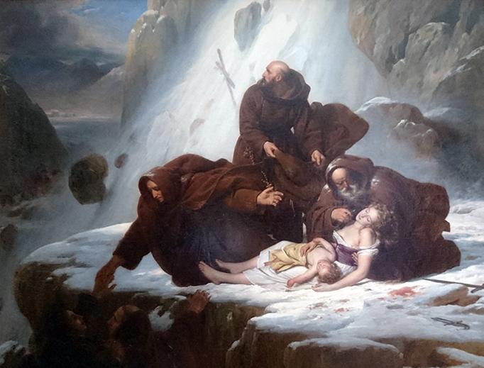 """Louis Hersent, """"Les Religieux du mont Saint-Gothard,"""" c. 1820"""