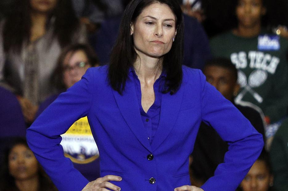 """Michigan attorney general Dana Nessel speaks at a Democratic rally attended by former President Barack Obama and former Attorney General Eric Holder Oct. 26, 2018, at Detroit's Cass Tech High School. 26, 2018, in Detroit, Michigan. After her November 2018 election the openly lesbian Nessel targeted St. Vincent Catholic Charities as """"hate mongers"""" and sought to withdraw state funds from their foster care and adoption work. A U.S. District judge handed down an injunction in favor of St. Vincent Sept. 26."""
