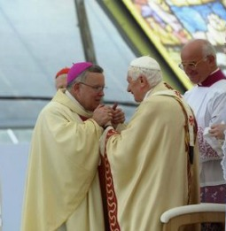 Archbishop Charles Chaput of Philadelphia greets Pope Benedict XVI during the Seventh World Meeting of Families in Milan, Italy, in June 2012.