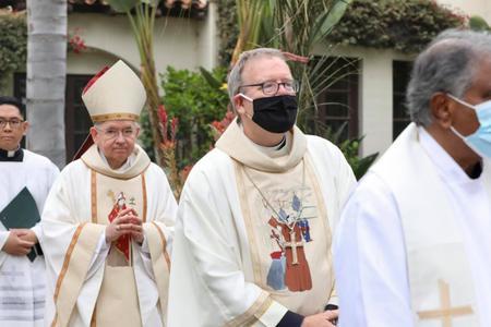 Archbishop José Gomez and Bishop Robert Barron take part in a special Mass at San Buenaventura Mission.