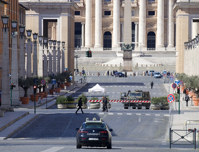 Police patrol St. Peter's Square and the Vatican on March 25.