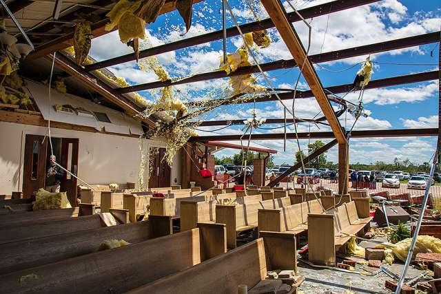 Tornado damage at St. John the Evangelist, Emory, Texas.