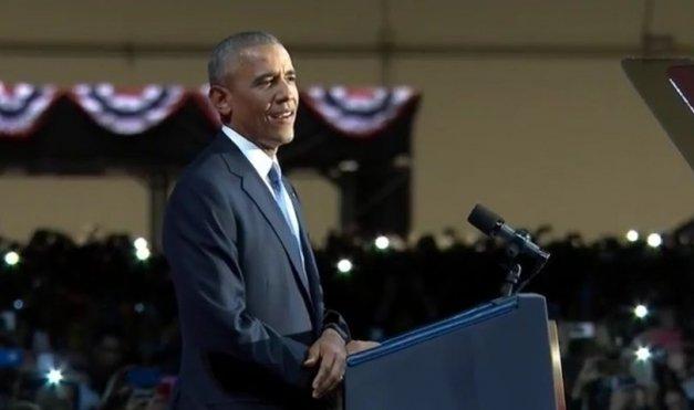 President Barack Obama delivers his farewell address on Jan. 10.