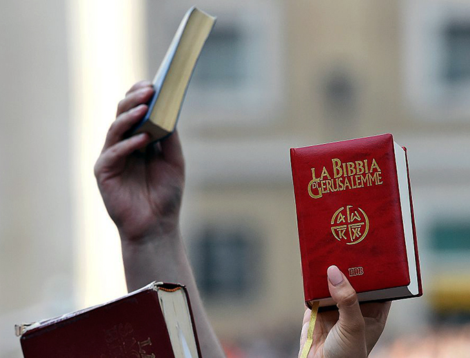 Faithful hold up Bibles at a papal audience in St. Peter's Square on July 3, 2015.