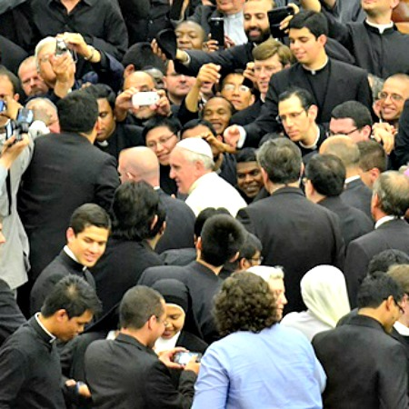 Pope Francis meets with seminarians from the Pontifical Roman universities on May 12.