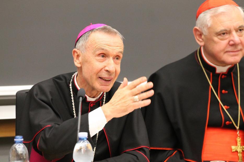 Archbishop Luis Ladaria SJ seated next to Cardinal Gerhard Müller at a book presentation in Rome, Nov. 27, 2014.