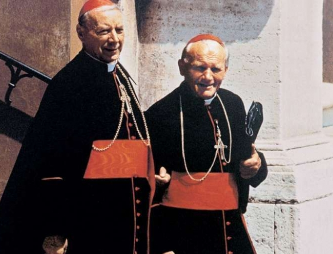 Above, Cardinal Stefan Wyszynski and St. John Paul II, then-Cardinal Karol Wojtyla. Below, Father Patrick Peyton