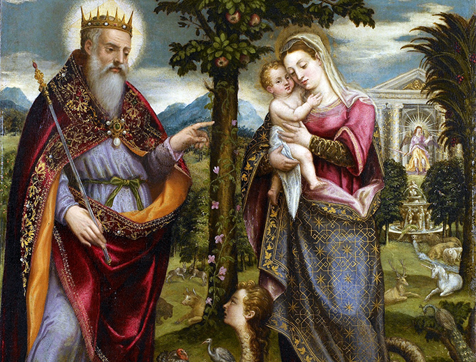 """Luca Mombello, """"Immaculata and God the Father,"""" c. 1570"""