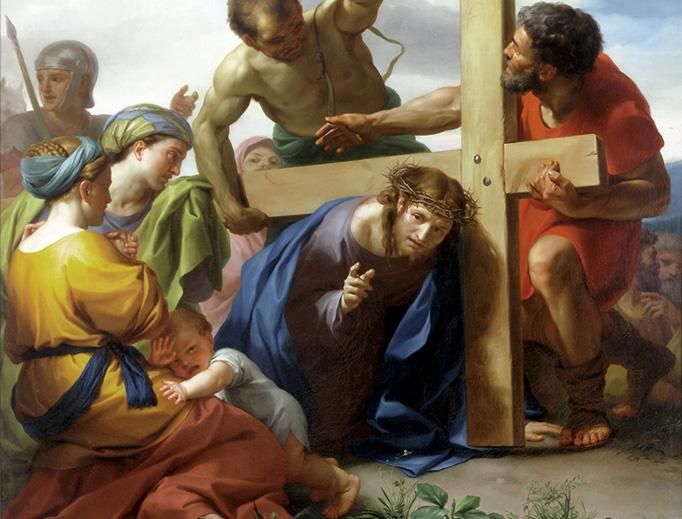 """Anton Raphael Mengs (1728-1779), """"Caída de Cristo con la cruz a cuestas camino del Calvario"""""""