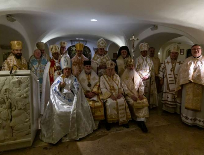 Bishops of the USCCB's Region XV in the grotto of St Peter's Basilica during their ad limina visit, Feb. 18, 2020.