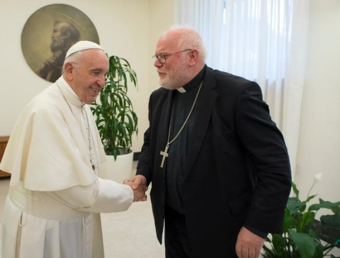 Pope Francis meets with the Cardinal Reinhard Marx.
