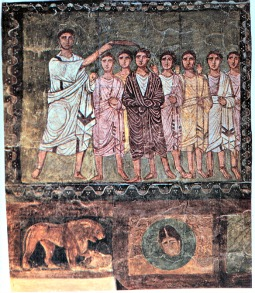 Samuel anoints David in the presence of his friends, from the third century AD.