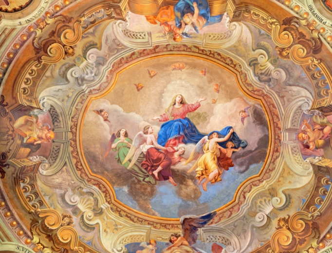 The ceiling fresco of Assumption of Virgin Mary in the Church of Santuario del Santissimo Crocifisso by Gersam Turri (1927-1929).