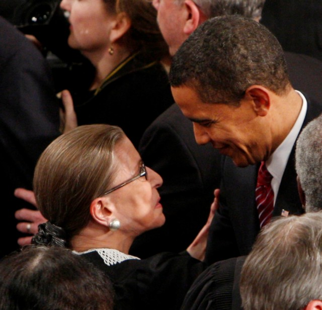 Supreme Court Justice Ruth Bader Ginsburg with President Obama in February.