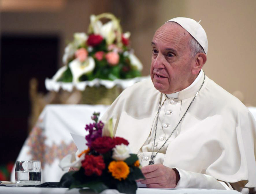 Pope Francis speaks as he meets with clergy at St Peter's Cathedral in the Moroccan capital Rabat on March 31, 2019, on the second day of his two-day visit to Morocco.