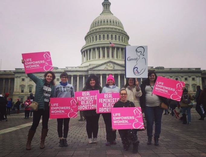 Former Planned Parenthood director Abby Johnson and other pro-life feminists on Jan. 21.