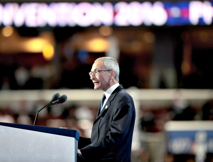 John Podesta, chairman of the Hillary Clinton presidential campaign, delivers a speech on the first day of the Democratic National Convention at the Wells Fargo Center, July 25 in Philadelphia, Pennsylvania.