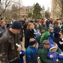 People gather during a rally at the University of Notre Dame in Indiana in April 2009. Hundreds of anti-abortion advocates protested on the campus against the school's invitation for President Obama to speak at that year's graduation ceremony and receive an honorary doctorate.