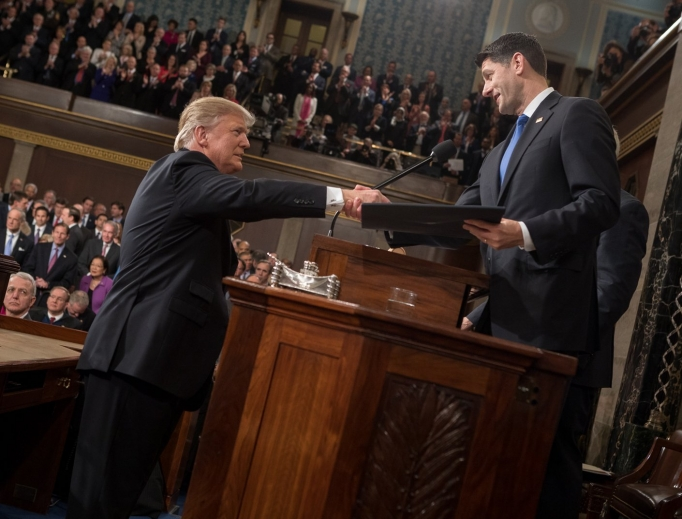 Speaker Paul Ryan (r), shakes hands with President Donald Trump Feb. 28 before Trump's address to a joint session of Congress.