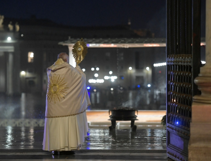 Pope Francis offering his urbi et orbi blessing from St. Peter's Square, March 27, 2020.