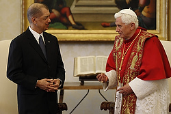 Pope Benedict XVI talks with Seychelles' President James Michel during a meeting at the Vatican Oct. 25.