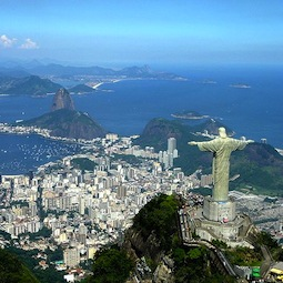 Aerial view of Christ the Redeemer statue on Corcovado mountain in Rio de Janeiro.