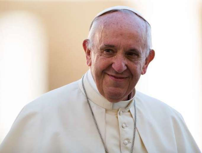 Pope Francis smiles in St. Peter's Square on Oct. 14, 2017.