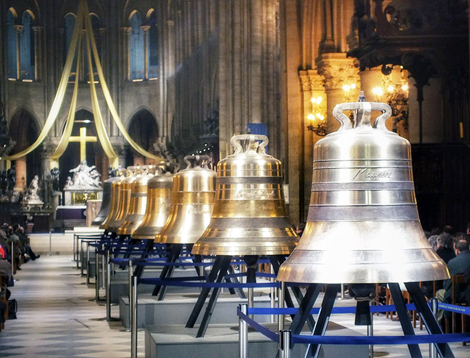 Nine new bells are displayed in the nave of Notre Dame Cathedral in Paris before being installed in 2013.