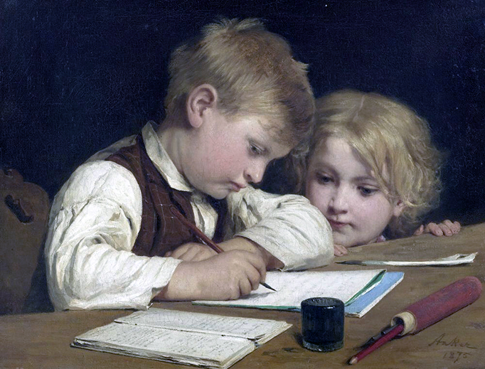 """Albert Anker, """"Schreibender Knabe mit Schwesterchen"""" (1875)"""