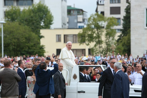 Pope Francis greets crowds in Tirana, Albania, on Sept. 21.